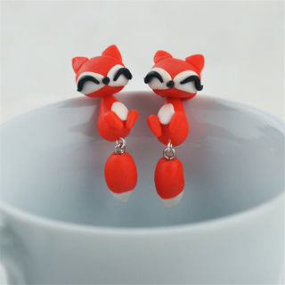 2 Pairs Women Earring 3D Red Fox