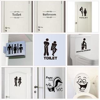 WC Toilet Entrance Sign Door Stickers For Public Place Home Decoration Creative Pattern Wall Decal