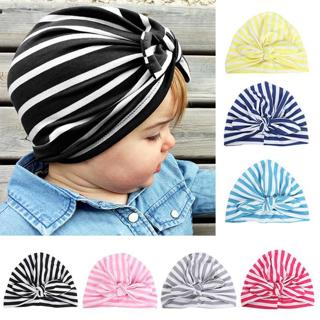 Newborn Infant Toddler Kid Baby Cute Soft Cotton Knot Stripe Rabbit Ears Turban Hat Indian Flower