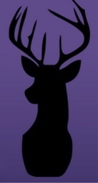 22 inches X 9 inches shadow deer head removable wall decal.