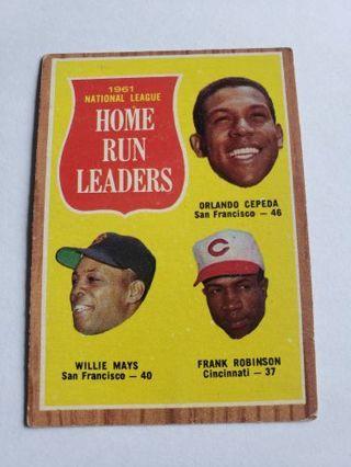 1962 topps home run leaders willie mays Orlando Cepeda frank Robinson vintage baseball card