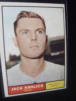 1961 - TOPPS EXMT - NRMT BASEBALL CARD NO. 36 - JACK KRALICK - TWINS