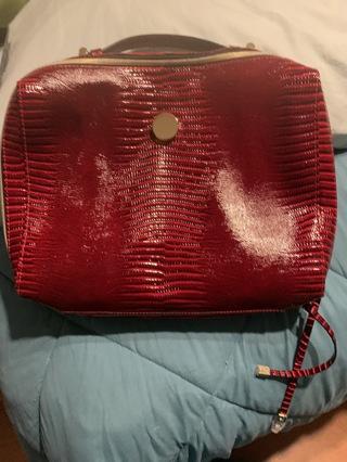 Brautiful red faux crocodile bag