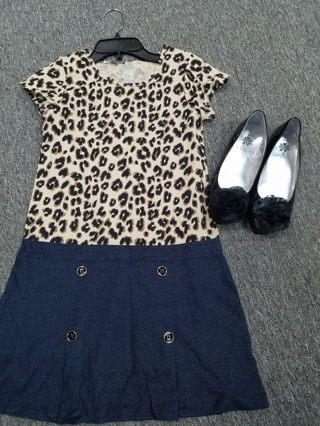 New!! Girls dress Size LG 10/12 and shoes Size 3