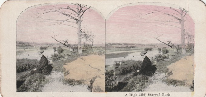 Vintage Early 1900-1920 Stereograph, Photo card: Wisconsin Dells: High Cliff, Starved Rock