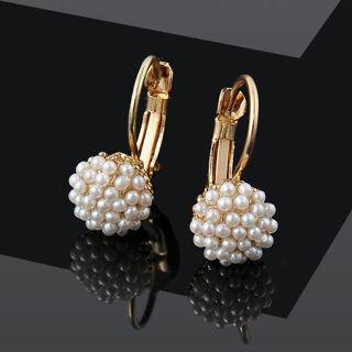 Pearl Beads Ear Hoop Dangle Stud Earrings