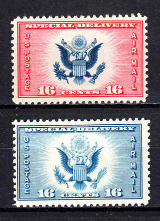 US CE1 CE2 16c AIRMAIL SPECIAL DELIVERY 1934-1936 MNH OG [LT02]