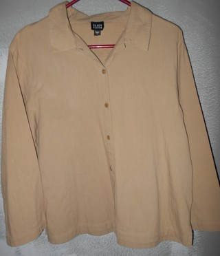 EILEEN FISHER BROWN,SZ.L, LONG SLEEVE SHIRT