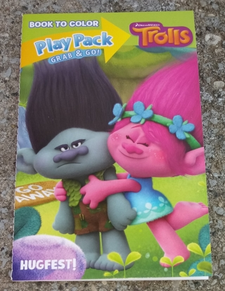 TROLLS SMALL COLORING BOOK WITH STICKERS AND WITHOUT CRAYONS USE YOUR OWN CRAYONS