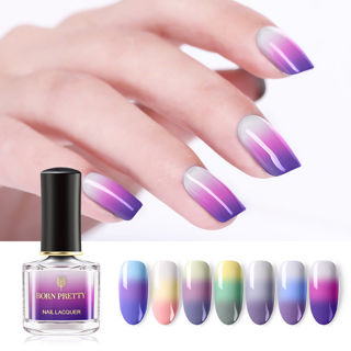 BORN PRETTY Color Changing Nail Polish Glitter Thermal Nail Varnish 7 Colors