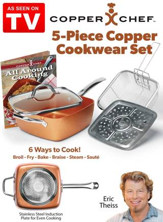 NEW Copper Chef 5-pc. Cooking Set $99.99 retail - pan, lid, frying basket, steam rack, recipe book