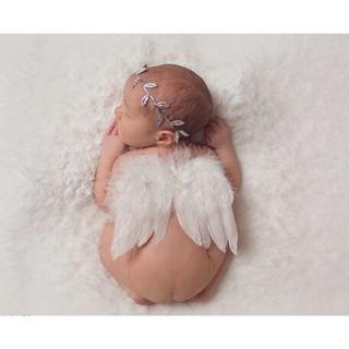 Fashion Newborn Baby Kids Olive Branch Headband & Angel Wings Photo Props Newborn Photography Prop