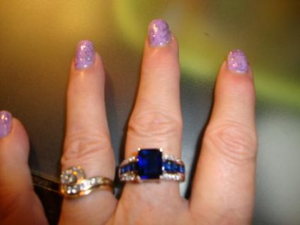 ✨ Sz 9 Sapphire & SS Ring!! ✨ GIN BONUS!!