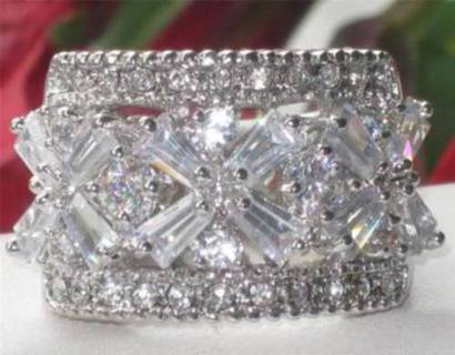 ring white gold plate cubic zirconia wide band quality jewelry 6 8 9 10 NWT