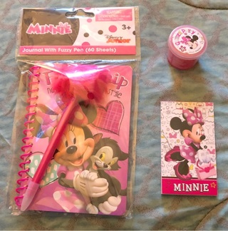 BN Disney Minnie Mouse Gifts! Friendship Journal Set w/Cute Pen! Mini Pad & .7 oz Glitter DesignWear