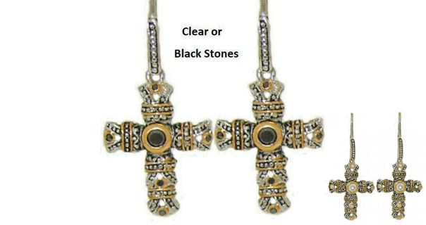 Cable cross Earrings WHITE or BLACK STONES NWT
