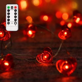 Valentines Day Decorations 50 LED Lights with Remote