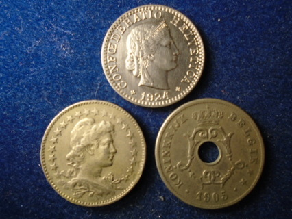 1905 1924 & 1930 OLD WORLD COINS ..FULL BOLD DATES!