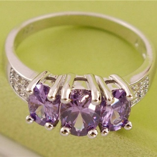 925 Sterling Silver Amethyst Ring size 7