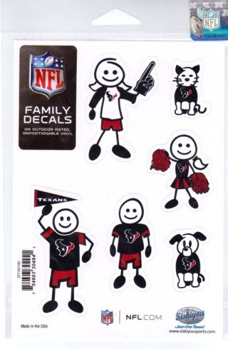 Too Fun NFL HOUSTON TEXANS Family Decals Auto Car Vinyl Stickers Mom, Dad, Kids, Pets  Free Shipping
