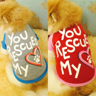 Pet Dog Puppy Letters Heart Pattern Cotton Soft Comfortable T-shirt Apparel Chic