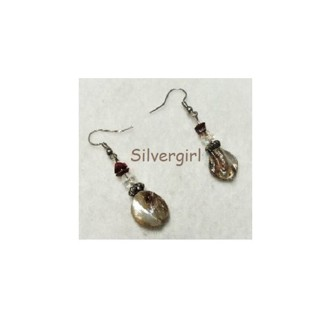 Natural Shell Crystal Gemstone Chip Silver Plate Earrings