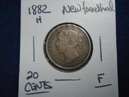 1882-H NEWFOUNDLAND 20 CENTS SILVER!