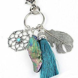 Women Natural Stone Turquoise Dreamcatcher Boho Fashion Keychain Bag Hanging Dec
