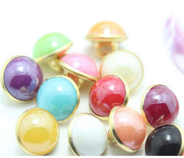 120pcs Pearl Buttons 10mm Small Pearl Half Resin Dome Cap Copper Base Buttons