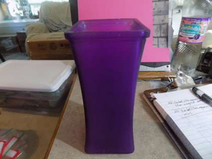 8 inch tall and 3 inch square purple glass vase