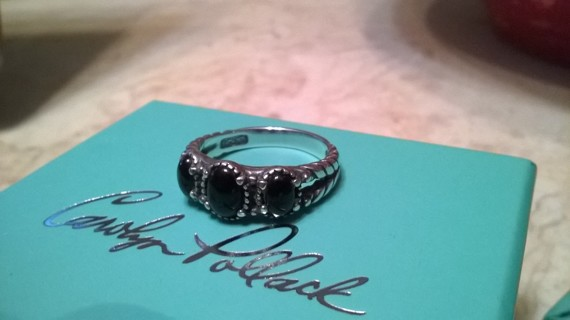 Carolyn Pollack Sterling Silver Black Stone Ring Size 8