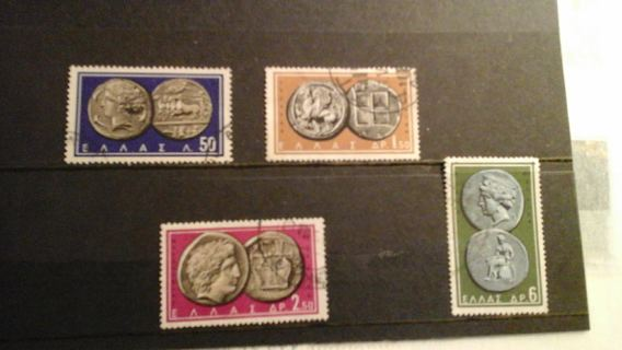 set of 4 different stamps on theme old coins * Greece * #B-RO S-14 L-6