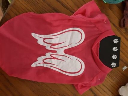 NWOT Dog shirt Size Sm/Med Pink w Angel Wings
