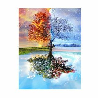 1 Set Seasons Tree DIY 5D Resin Diamond Painting Cross Stitch Embroidery Craft