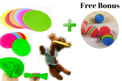 New Frisbee Flying Disc Tooth Resistant Outdoor Large Dog Pet Toy Training Fetch+Free bonus