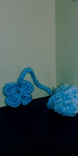 Crochet 4-leaf Clover Bookmark ( B-7552) Pastel Blue/White
