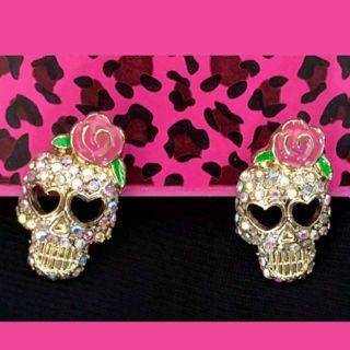 Betsey Johnson earrings sugar skulls studs New free ship