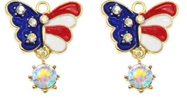 10pcs USA Flag Butterfly Charms Lot B2 (PLEASE READ DESCRIPTION)