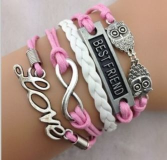 NEW Infinity Love Owl Leather Charm Bracelet plated Silver DIY Pink TA03