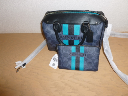 Coach Varsity Stripe Denim/Black & Turquoise Mini Bennett Satchel & Wristlet NWT $370
