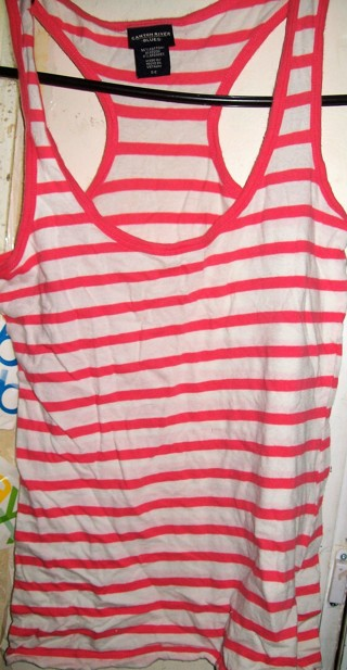 Canyon River Blues Ladies Sz S (4)  Pink Orange White Striped Summer Top-Like New!