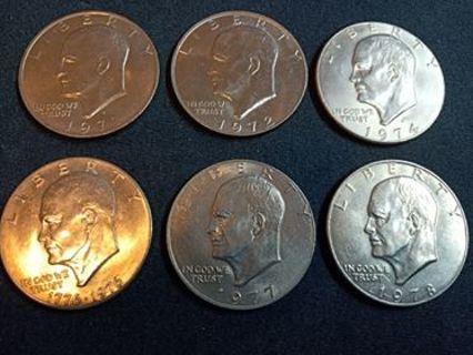Set of 6 different Eisenhower dollars for russellgrulkowski52