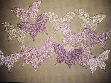 14 Large Glitter Cardstock Butterflies