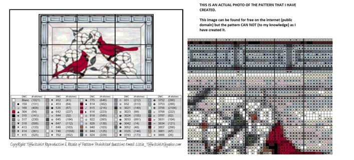 Cardinals in Stained Glass Cross Stitch Pattern