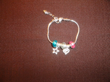 Silver Plated Pandora Style Charm Bracelet