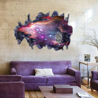 Galaxy Space Moon Scenery 3D Wall Stickers Vinyl Art Mural Decal Home Room Decor