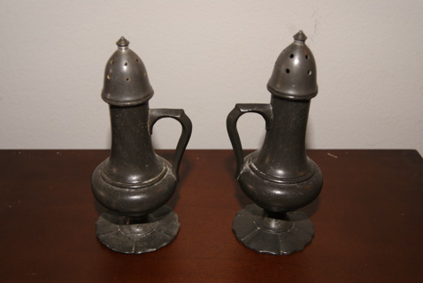 Antique Rless Pewter Salt Pepper Shaker Set Vintage