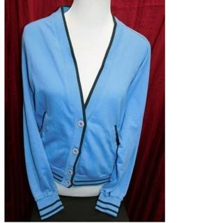 RARE Nike Powder Blue VARSITY Button Down Womens Small Sweater/Top
