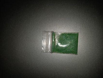Green nail glitter