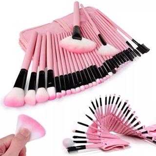 32pcs make up brushes pink